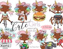 Unicorns Stickers African Americans Girls