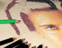 Dessin hyperréaliste aux crayons de couleur (1996)