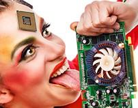 Girl geek. Computer expert. Support service.