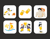 Icons for Fitness and Aikido Trainer's site: Komei.ru