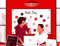 Blog cover illustration for 'Hack Day'