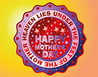 happy mothers day badge vector art