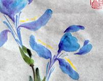 Blue Iris Sumi-e