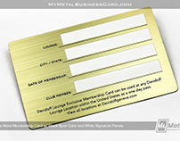 Brass Metal Membership Card w/ White Signature Panels