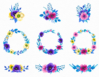 Watercolor Blossom Floral Patterns Set