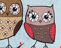 Pair of Owls illustration