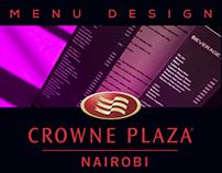 Crowne Plaza Nairobi Menu designs