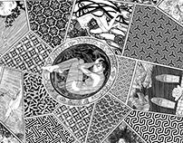 Dreams of Puberty period silk print 138x138cm