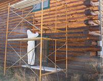 Log Home Restoration project, media blasting