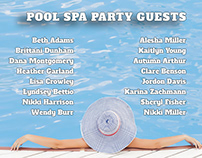 Pool SPA Party Guests Board