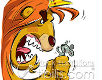 Cartoon lion holding a tiny mouse frightening it