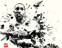 Evan Turner ink painting