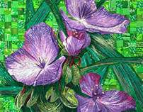 Purple Flowers - Created with Recycled Material