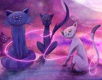 "Illustrations ""Les chats de la lune"""