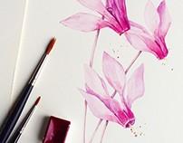 Watercolor Botanical Portrait of Flowers