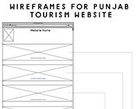 Punjab Tourism Website Wireframes