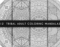 Tribal adult coloring mandalas