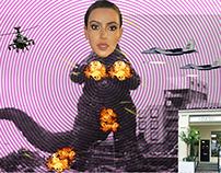 Kim K Godzilla collage