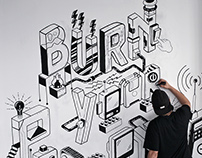 Burn your Prototypes Mural -Cape Town I.T. Initiative
