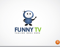 Funny tv logo template