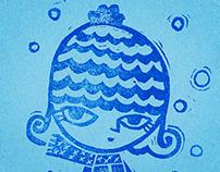 Winter Girl | Drawing, Carving, Handprinting
