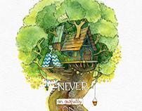 Peter Pan, watercolors