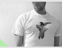 HAND SCREENED BIRD 01 T-SHIRT / WINTER REDUCTION
