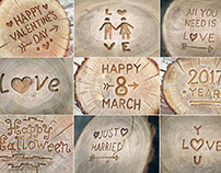 Set of Photo textures of wood with inscriptions