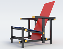Rietveld Armchair Red and Blue