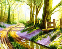 Bluebell Wood Watercolour Painting