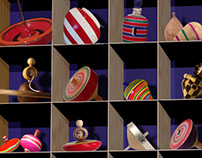 Spinning tops display cabinet