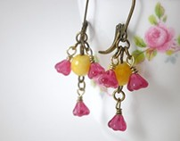 Earrings Yellow Glass Bead Rose Pink Baby Bell Flowers