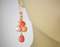 Spring Earrings Orange Pink Creamsicle Faceted Cabochon
