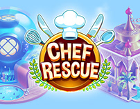 Chef Rescue: Buildings, foods, icon & logo