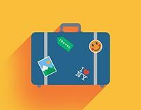 Flat Travel Bag Icon