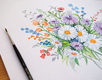 Watercolor patterns, flowers