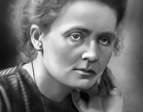 Marie Curie Digital Oil Painting by Wayne Flint
