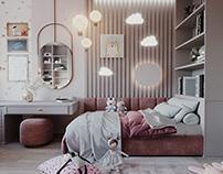 3D визуализация детской комнаты. дизайн Mossebo