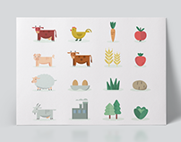 Map illustration of Vestfold and agriculture icon set.