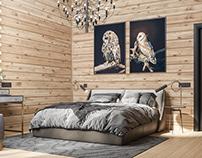 Спальня в доме из деревянного сруба.