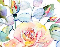 Watercolor roses seamless pattern