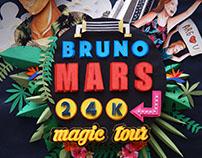 Fan art Poster of Bruno Mars 24k Magic tour. Paperart