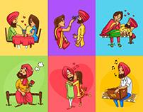 Punjabi People Vector Illustrations