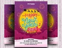 2018 Happy New Year Invitation Flyer PSD