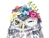 Watercolor flower owl
