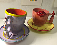 Creative ceramic cups - Jeweled and red lips