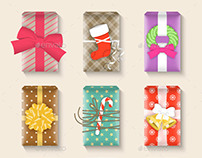 Christmas Gift Boxes Bright Colorful Set