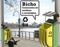 Bicho. Contenedor de residuos reciclables.