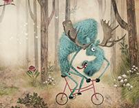 moose on bicycle