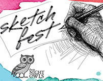 SketchFest Night Owls postcard
